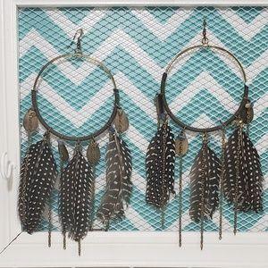 Jewelry - Brass Hoop & Feather Earrings